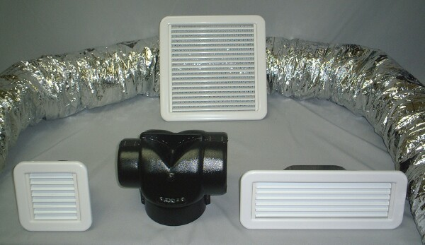 Aqua-Air Grilles, Plastic Duct Adapters and Flex Duct